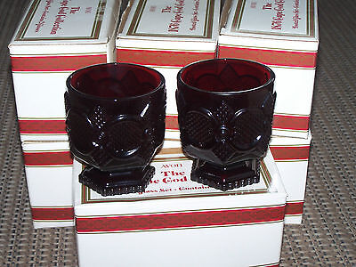 Avon Cape Cod Ruby Red 4 Footed Beverage Glasses in original boxes