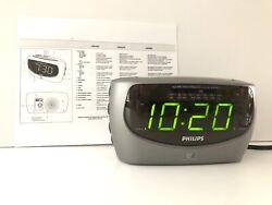 Philips AJ3490 AM/FM/Weather Large Display Alarm Clock Radio with Instructions