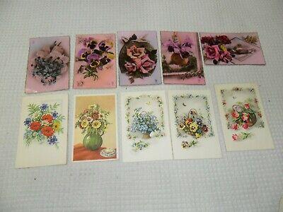 Vintage : superbe lot de 10 cpa non écrites fleurs  état voir les 2 photos.