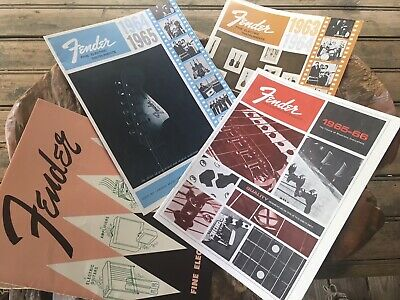 4 Fender Electric Guitar Amp Bass Vintage Catalog Reprint Reprints Brochures