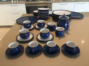 Large Collection Of Denby Pottery Imperial Blue