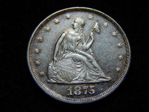 1875 20C Twenty Cent Piece AU++, Better Date! Decent Coin!