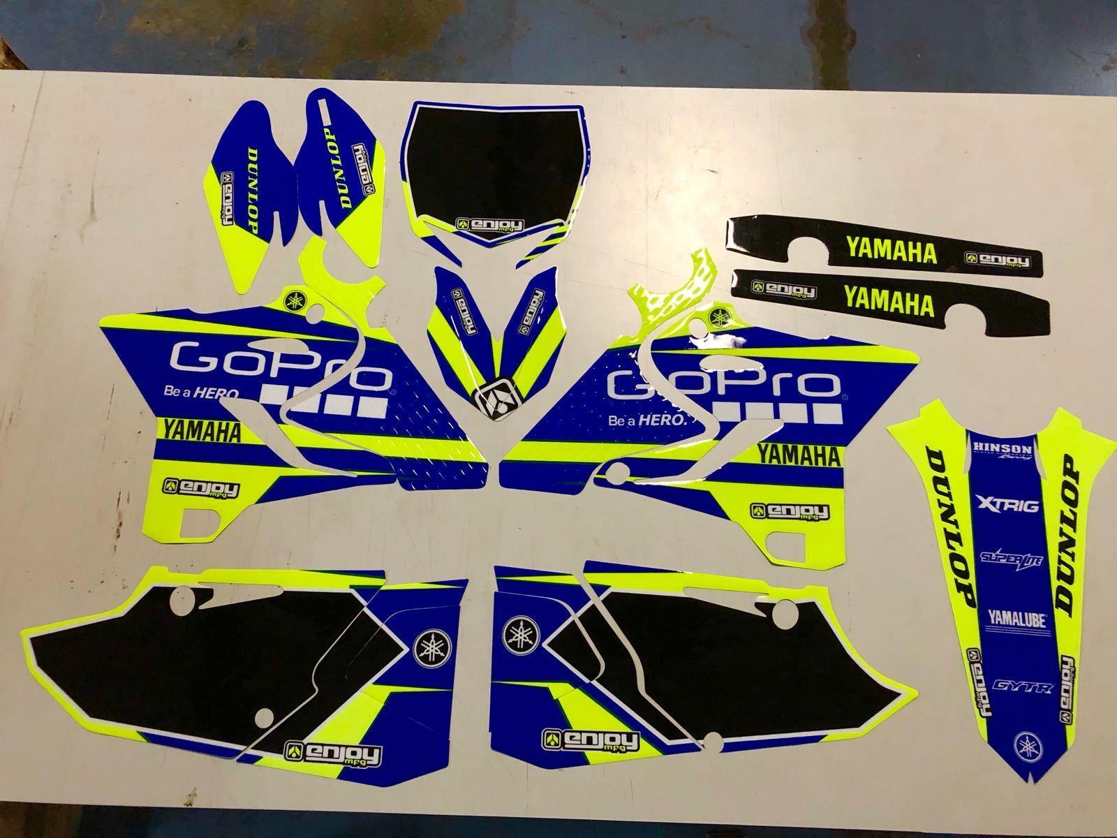 Enjoy MFG 2002-2019 Yamaha YZ 125 YZ 250 BLUE SIDES BLUE RIBS Seat Cover NEON YELLOW TOP