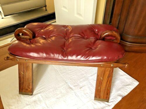 "Vintage  "" SUDAN ""Egyptian Camel Foot Stool Ottoman Saddle Leather Wood -NICE"