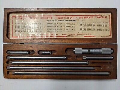 Starrett 823c Machinist Tubular Inside Micrometer Set 4 - 24 W Wooden Box