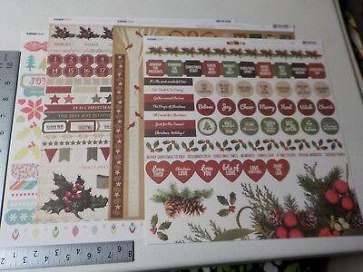 KAISERCRAFT BASECOAT MISTLETOE YULETIDE CHRISTMAS 12X12 STICKER SHEETS NEW A5942