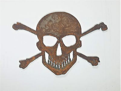 "6"" Skull and Crossbones Metal Wall Art Rough Rusty Vintage Ornament DIY Craft"