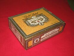 Cigar Box with Old Clock Parts/Gears,Sprockets,Springs,Alarms,etc./Gold Label/US