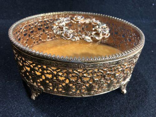 Trinket Jewelry Flocked Box Vintage Ormolu Gold Filigree Rose Clear Glass Oblong