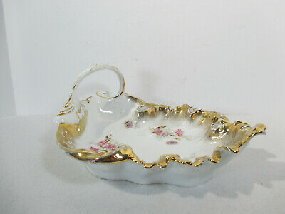 Silesien China Leaf Bowl Dish Handle Vintage Hand Painted Gold Accent Germany - Gold Leaf Bowl