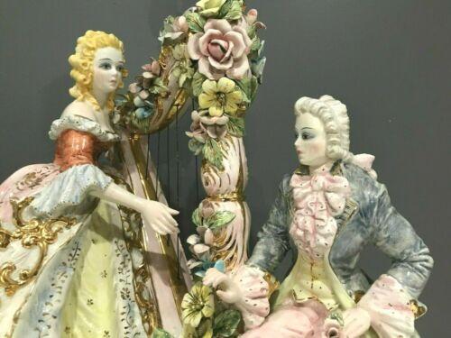 Mid 20th c Capodimonte Porcelain Lamp Italian, Signed Benrose Elegant