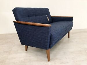 Danish Vintage Inspired Mid Century 50s 2 Seater Tail Sofa Settee In Navy