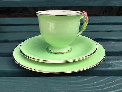 Royal Winton Rosebud Trio, Gilded Green Flower Cup Saucer Plate