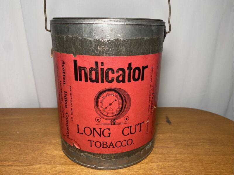 Vintage Rare Indicator Tobacco Tin Scotten Dillon Company Detroit Mi Michigan