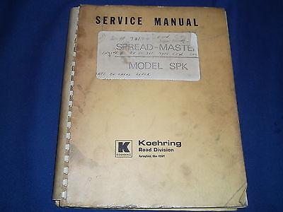 Koehring Spk Spreadmaster Repair Parts Book Manual