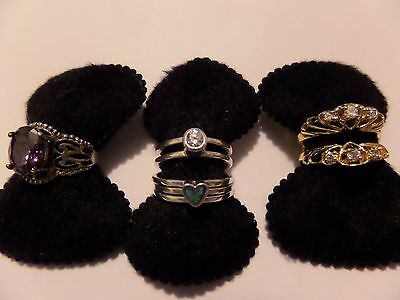 3 LOT VINTAGE AVON SIZE 5 RINGS STERLING AMETHYST COLOR CZ & MORE