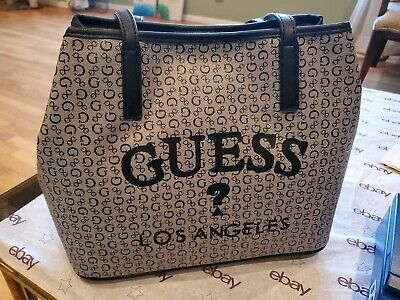 Guess signature Black/grey Tote Bag Shoulder Bag Purse double handles NWT