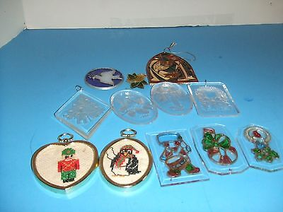 VINTAGE LOT OF ORNAMENTS STAINED GLASS PLASTIC  ASSORTMENT 2 NEEDLEPOINT