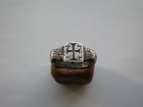 VERY RARE ANCIENT ROMAN-BYZANTINE LEGIONARY SILVER  RING WITH CROSS