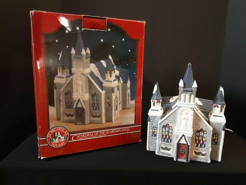 St. Nicholas Square Christmas Village Cathedral Of The Guardian Angel Rare