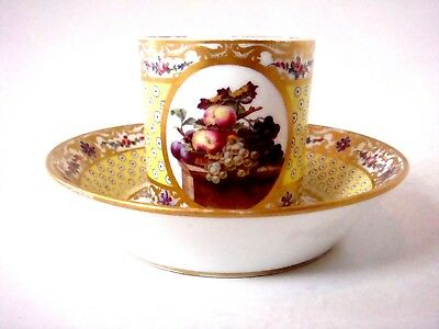 SEVRES PORCELAIN FINEST PAINTED FRUITS - LE BEL YELLOW GROUND CUP & SAUCER C1780