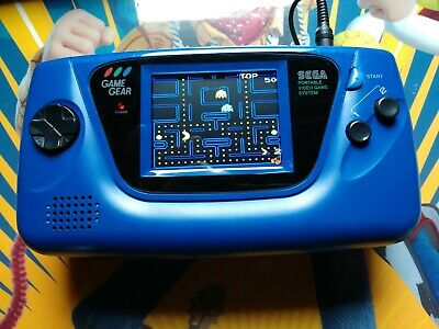 Blue Sega Game Gear console with Mcwill upgrade