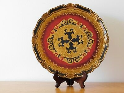 c.20th - Vintage Italy Italian Florentine Italian Gold Gilt Wooden Serving Tray
