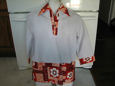 Sears Hawaiian fashions aloha shirt mens medium 1960s 1970s vintage new with tag