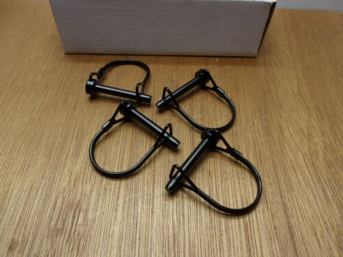 (Qty.4) PTO Hitch Coupler Wire Snap Safety Lock Quick Bail Pin 1/4 X 1-1/2 Black