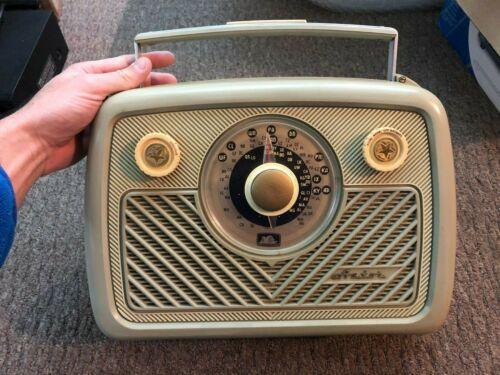 Rare olive green & cream Vintage Astor Valve tube portable Radio - 1950