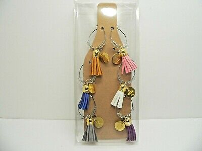 Wine Glass Tassel Charms with ID Rings Multi-Colored 6 Count - New](Wine Glass Rings)