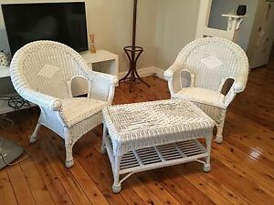 White wicker chairs and coffee table South Toowoomba Toowoomba City Preview