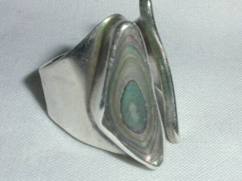 VINTAGE JRI MEXICAN STERLING ABALONE MODERNIST 7 3/4!WRAP AROUND RING- SIZE