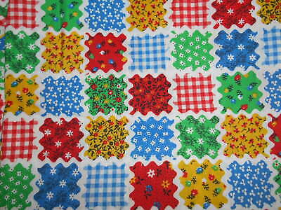 Vintage Country Patchwork Rick Rack Print Cotton Fabric Sewing Quilting 30 x 44""