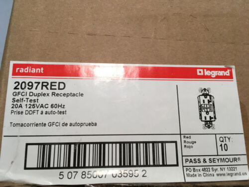 Box of (10) Legrand Pass & Seymour 2097RED 20A 125V GFCI Duplex Receptacle Red