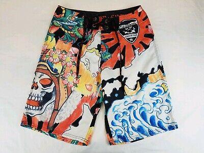 """Ed Hardy Lady Short - Ed Hardy Christian Audigier """"Sz 31"""" Lady Skull Embellished Board Swim Shorts.L26"""