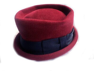 1950s Hats: Pillbox, Fascinator, Wedding, Sun Hats 1950's Deep Red S Ladies Pork Pie Hat - Wool Felt - Vintage $36.20 AT vintagedancer.com