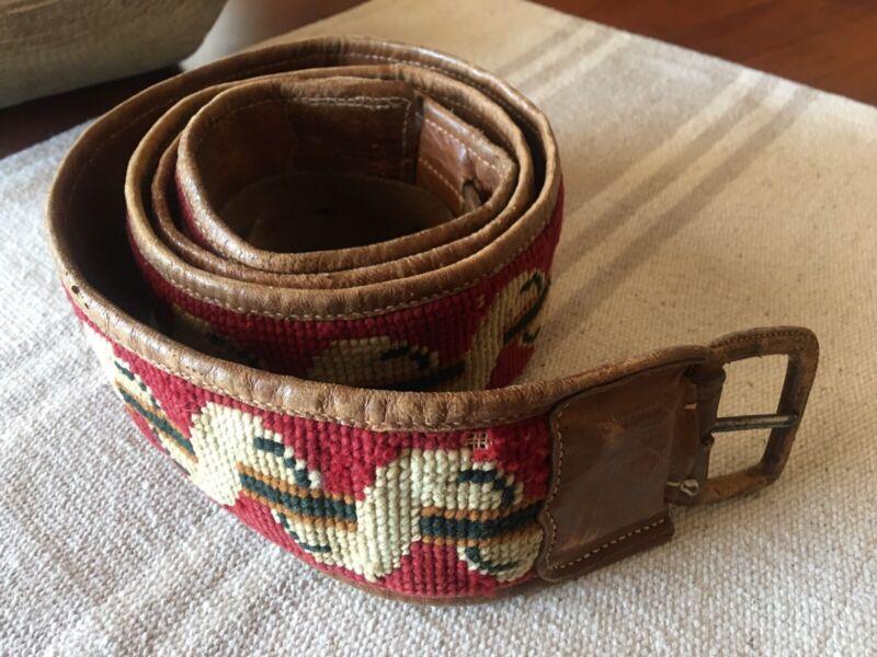 Antique Swedish Sami LAPLAND folk art handmade leather & needlepoint belt