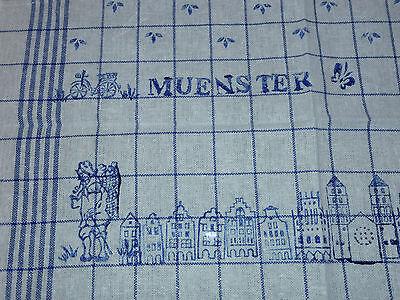 Blaudruck Münster Skyline Geschirrtuch Halbleinen 50x 70 cm Handdruck Handarbeit