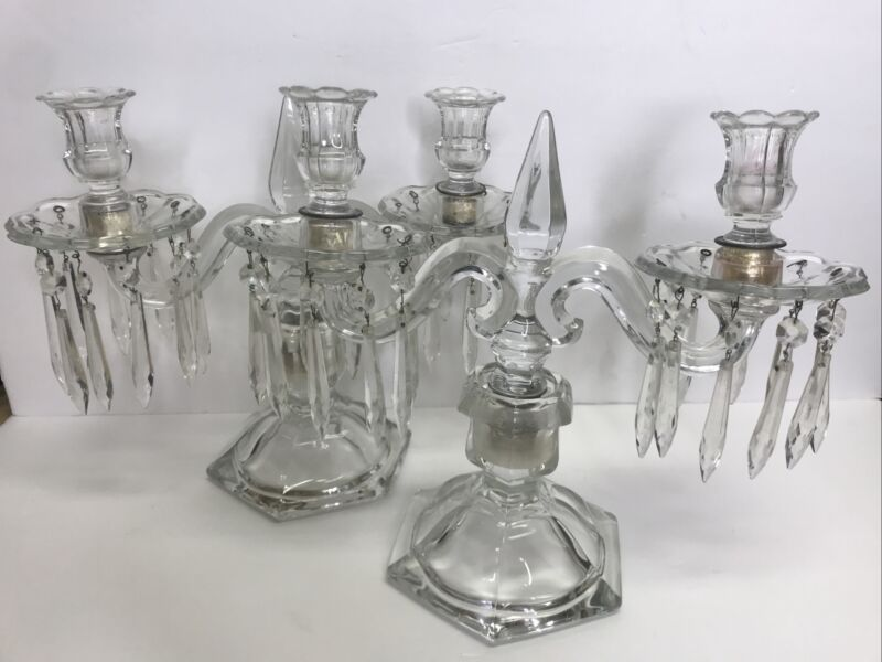 BEAUTIFUL VintagE Set 2 2-Light Candelabra With 2 Bobeche 20 Prism Crystals Each
