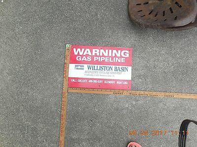 WILLISTON North Dakota GAS Pipeline Sign Service Petroleum Oil tin metal