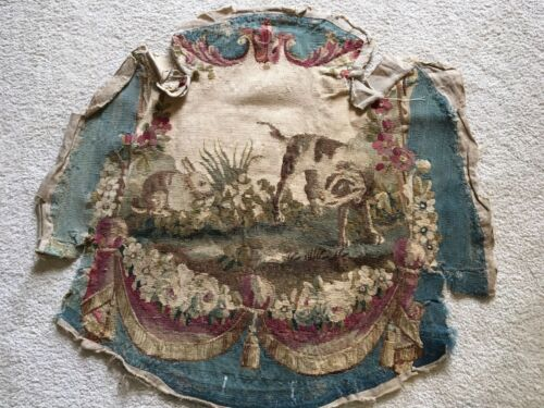 Antique French Aubusson Tapestry Chair Seat Cover Circa 1860 Dog Bunny Flowers
