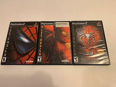 Sony Playstation 2 PS2 Black Label Spiderman 1,2 and 3 Game Lot Free S&H!