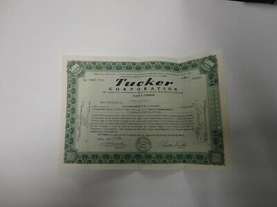 Tucker Corporation Stock Certificate-good condition- not graded* 50 shares-1948