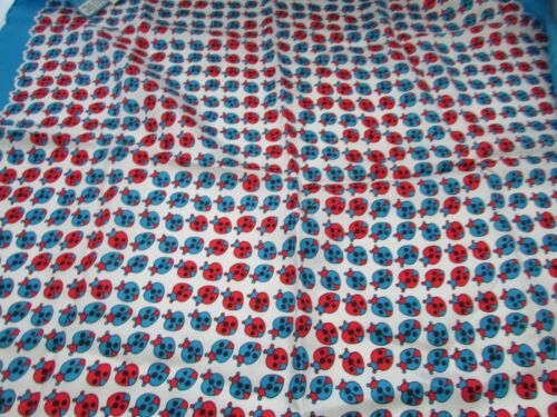 """Vintage Square Head Scarf From Italy 100% SILK LADY BUG Design 26"""" SQUARE"""
