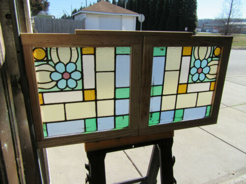 ~ PAIR ANTIQUE STAINED GLASS WINDOWS ~ 22.75 X 23 EACH ~ ARCHITECTURAL SALVAGE ~