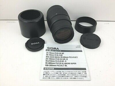 Sigma 70-300mm 1:4-5.6 DL Macro Super Camera Lens for Canon AF w/ Hoods & Caps