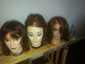 Hairdressing-3 mannequin's heads + holder and hairdressing bag Cronulla Sutherland Area Preview