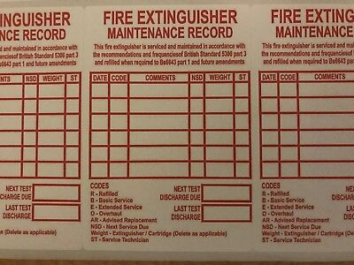 24 X Fire Extinguisher Maintenance Record Labels Stickers