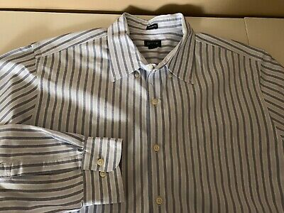 J.Crew Blue White Striped Cotton Oxford Shirt - XL Tailored Fit ()